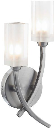 Dar Morgan Modern 2 Lamp Wall Light Satin Chrome