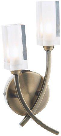 Dar Morgan Modern 2 Lamp Wall Light Antique Brass