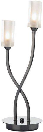 Dar Morgan Modern 2 Light Table Lamp Black Chrome