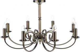 Dar Murray Large 8 Light Dual Mount Chandelier Antique Brass