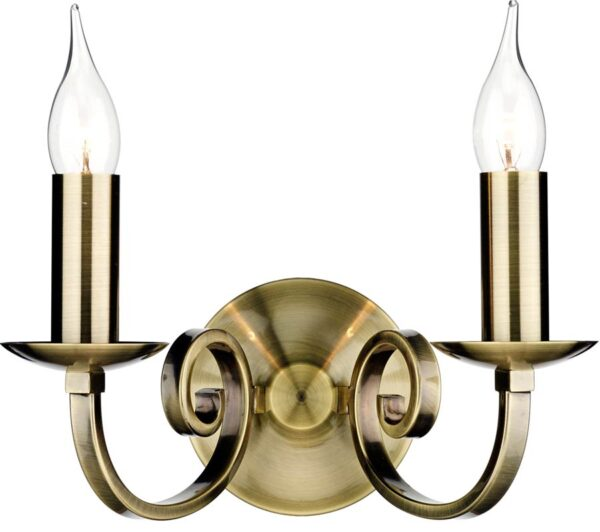 Dar Murray Switched 2 Lamp Wall Light Antique Brass
