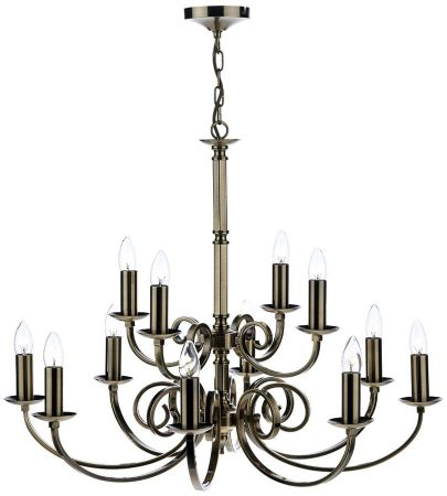 Dar Murray Large 12 Light Dual Mount Chandelier Antique Brass