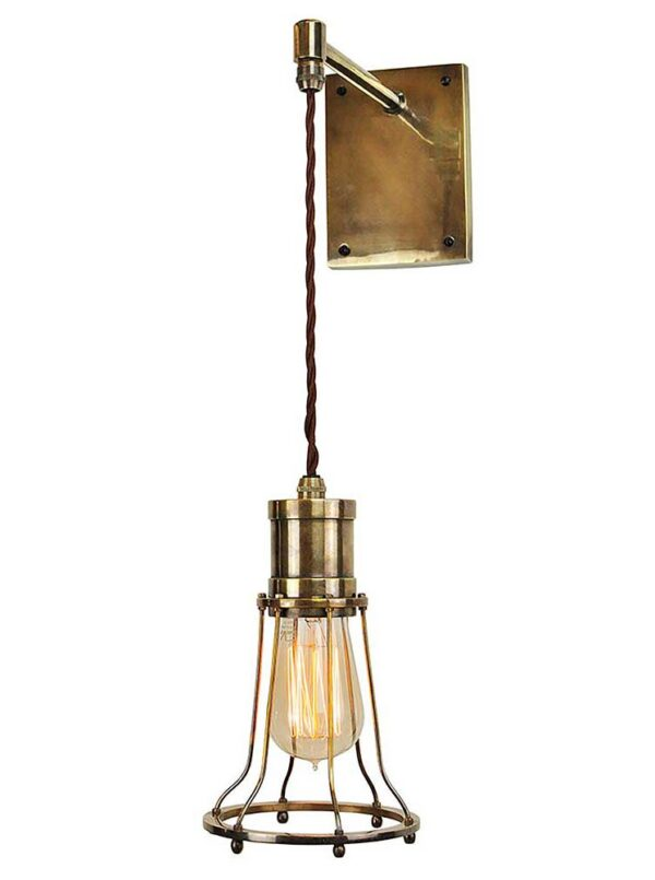 Marconi Period Hanging Cage Wall Light Solid Antique Brass Made In Uk