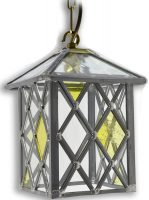 Marlow Amber Diamond Leaded Stained Glass Hanging Porch Lantern