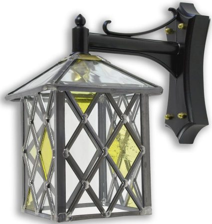 Marlow Amber Diamond Leaded Stained Glass Outdoor Wall Lantern