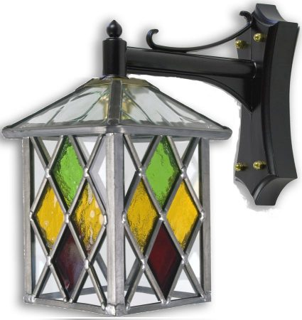 Matlock Multi Coloured Diamond Leaded Glass Outdoor Wall Lantern