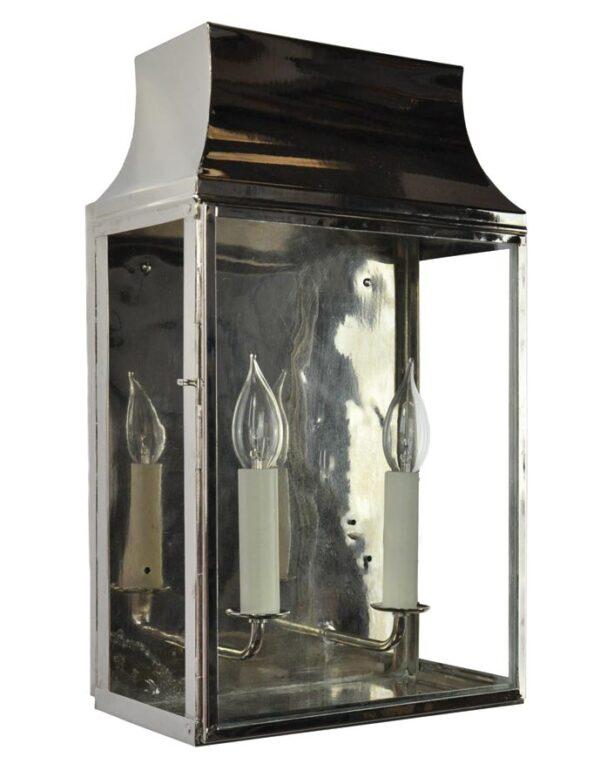 Strathmore Large 2 Light Vintage Outdoor Wall Lantern Polished Nickel