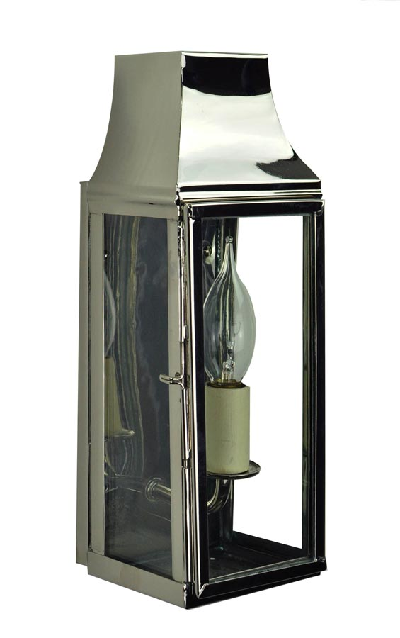 Strathmore small vintage outdoor slim wall lantern polished nickel