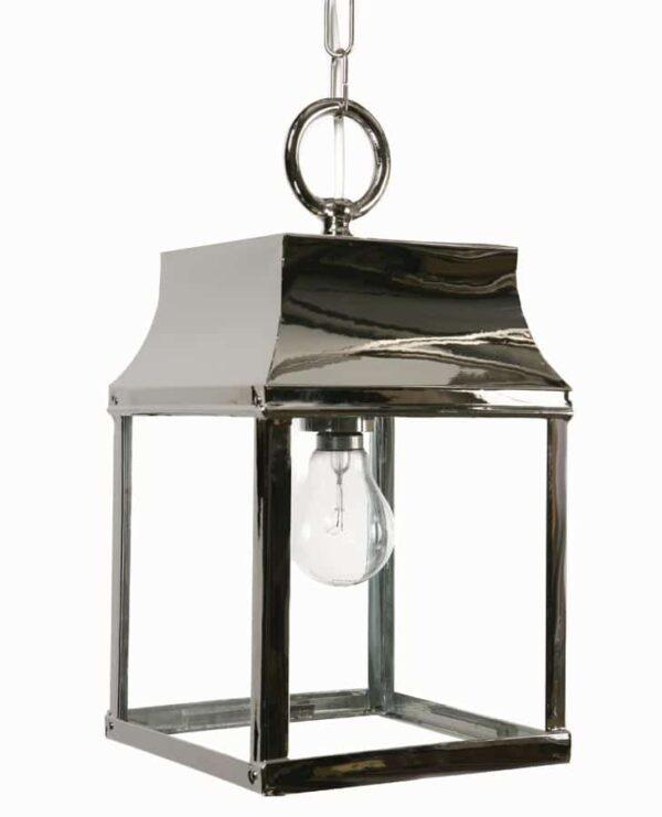 Strathmore small 1 light vintage hanging porch lantern polished nickel