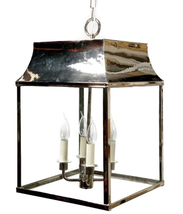 Strathmore large 4 light vintage hanging porch lantern polished nickel