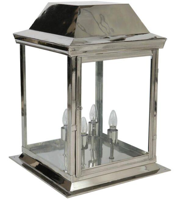 Strathmore large 4 light vintage outdoor gate post lantern polished nickel