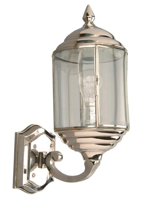 Wentworth Art Deco style period outdoor wall lantern polished nickel