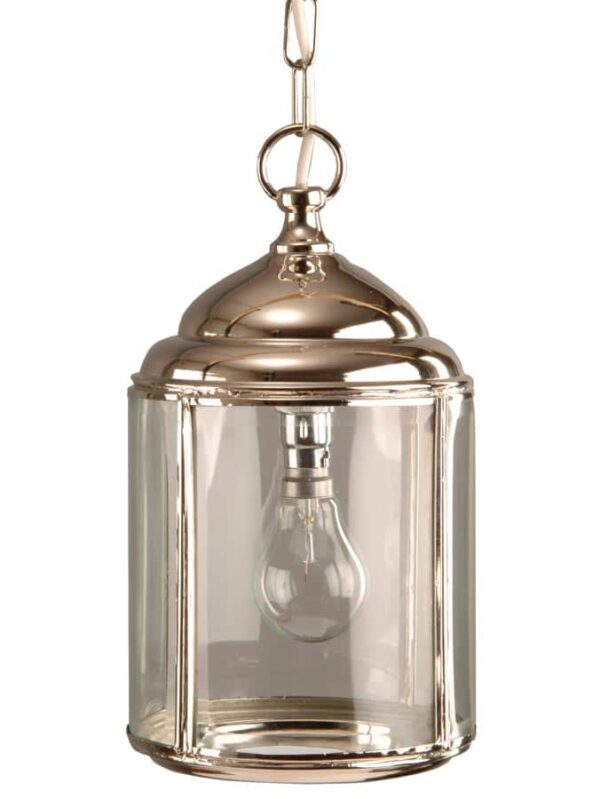 Wentworth Hanging Outdoor Porch Lantern Polished Nickel Vintage Style