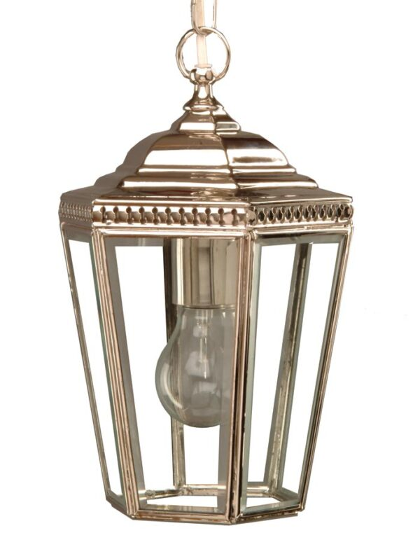 Windsor Georgian hanging outdoor porch chain lantern, polished nickel