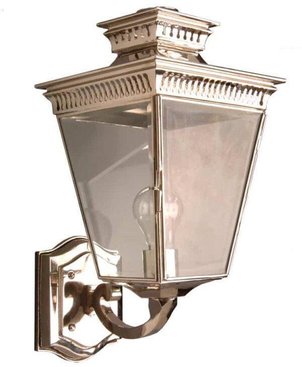 Pagoda Georgian style period outdoor wall lantern polished nickel