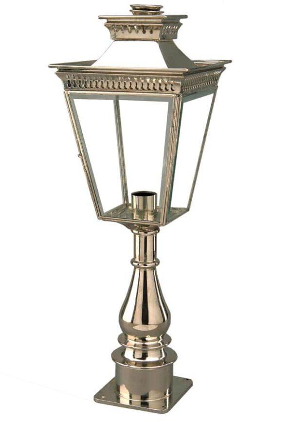 Pagoda Georgian period tall outdoor pillar lantern polished nickel