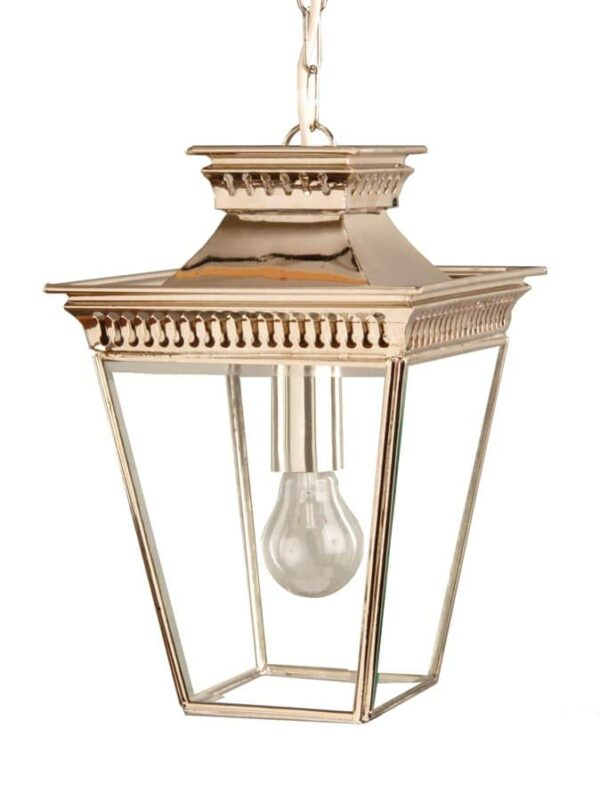 Pagoda Georgian style small outdoor hanging porch lantern polished nickel
