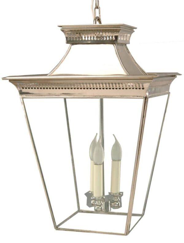 Pagoda Georgian 3 light large porch chain lantern polished nickel