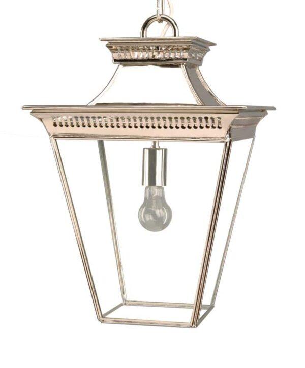 Pagoda Georgian style 1 light medium porch chain lantern polished nickel