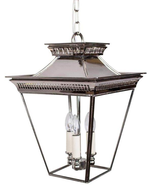 Pagoda Georgian 3 Light Medium Porch Chain Lantern Polished Nickel