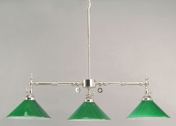 Aldwich Nickel Plated 3 Light Replica Gasolier Snooker Light