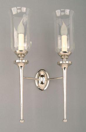 Grosvenor Nickel Plated Brass Twin Edwardian Wall Light