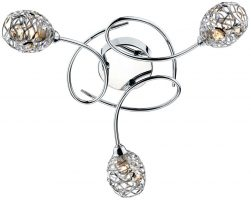 Dar Numero Modern 3 Lamp Flush Ceiling Light Chrome