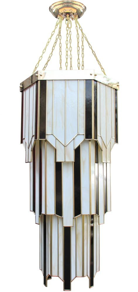 New york large hexagonal art deco 8 light tiered chandelier handmade