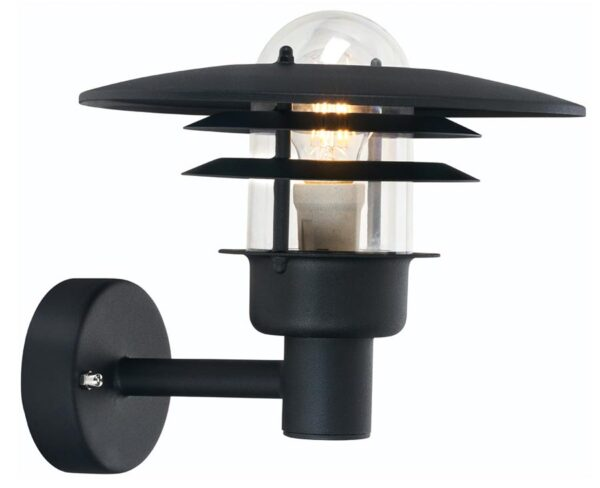 Noryls Larvik Art Deco style outdoor wall light in black IP55