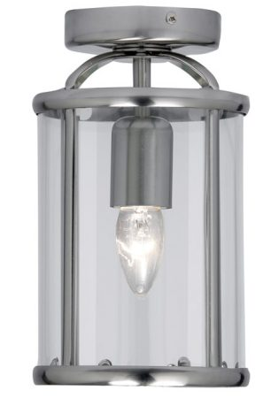 Fern Antique Chrome Flush 1 Light Ceiling Lantern