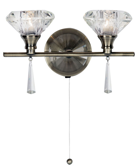 Crystal Wall Lights With Pull Cord : Sahar Antique Brass 2 Lamp Pull Cord Crystal Wall Light 7049/2 AB
