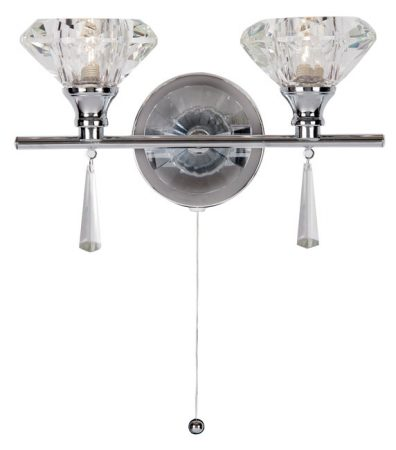 Sahar Modern Chrome 2 Light Switched Crystal Wall Light