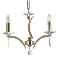 Wroxton Gold Plated Cast Brass 3 Light Chandelier