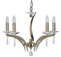 Wroxton Gold Plated Cast Brass 5 Light Chandelier