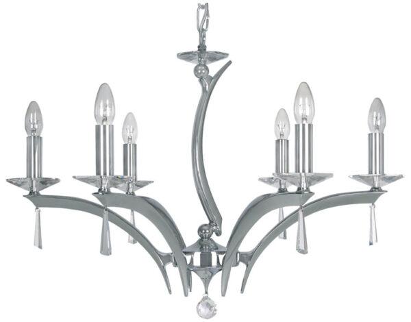 Wroxton Chrome Plated Cast Brass 6 Light Chandelier