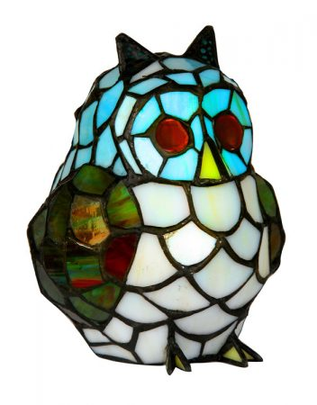 Tiffany Glass Owl Table Lamp