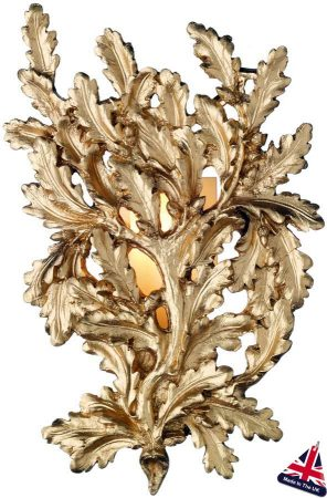 David Hunt Oak Branch Traditional Gold Wall Light UK Made