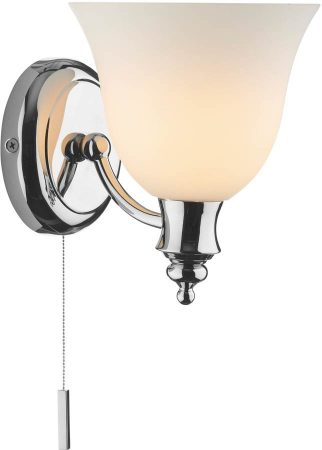 Dar Oboe Bathroom Wall Light Switched Traditional Chrome