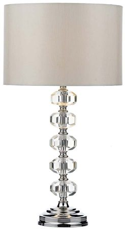 Dar Oleana Chrome And Crystal Table Lamp With Shade