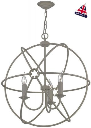 David Hunt Orb 60cm Ash Grey Iron Globe 3 Light Ceiling Pendant