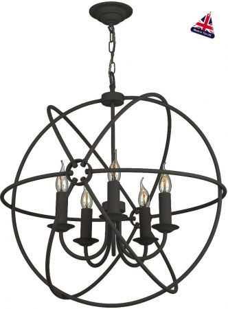 David Hunt Orb 5 Light Ceiling Pendant Black Matt 60cm