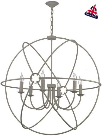 David Hunt Orb Large 90cm Ash Grey Globe 6 Light Pendant