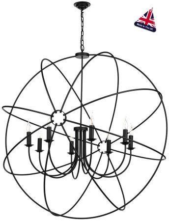 David Hunt Orb 8 Light Ceiling Pendant Black Matt 120cm