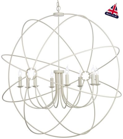 David Hunt Orb 8 Light Ceiling Pendant Cream Matt 120cm