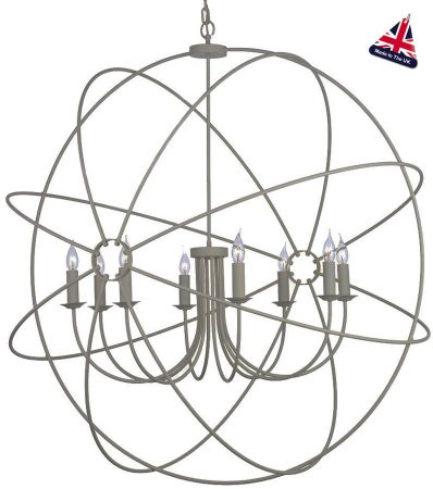 David Hunt Orb 8 Light Ceiling Pendant Ash Grey Matt 120cm