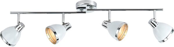 Dar Osaka Gloss White 4 Lamp Ceiling Spot Light Bar Chrome