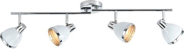 Dar Osaka White Shade 4 Lamp Ceiling Spot Light Bar Chrome