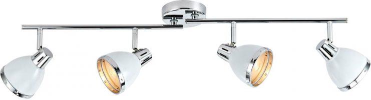 Dar Osaka Gloss White 4 Lamp Ceiling Spot Light Bar Chrome