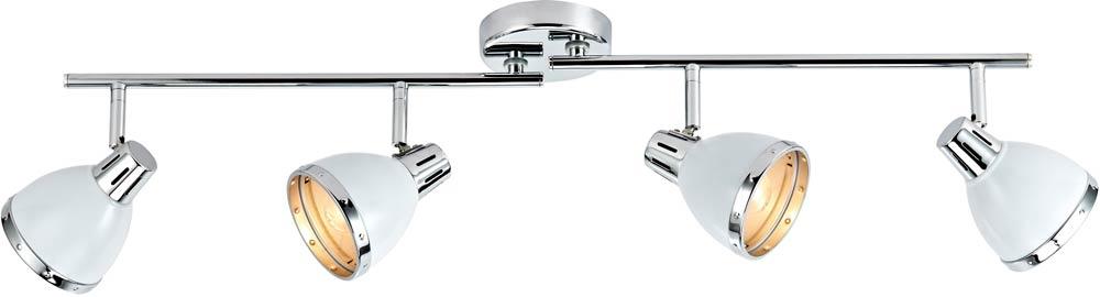 Ceiling Light Support Bar : Dar osaka gloss white lamp ceiling spot light bar chrome