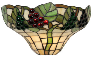 Red And Green Grape Vine Tiffany Wall Light